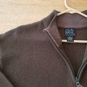 JOS A BANK 80% Lambs Wool Sweater XXL 1/4 Zip